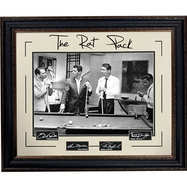 The Rat Pack Playing Pool Framed Display/w laser signatures