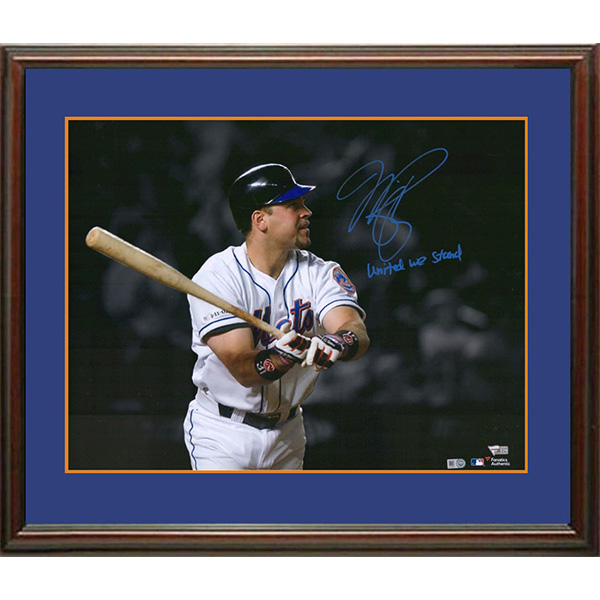 """Mike Piazza Autographed Framed Display (Historic Home Run in 1st Game Back after 9/11) Mike also added the special inscription """"United We Stand"""")"""
